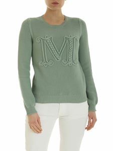 Max Mara - Gala sweater in sage green with logo detail