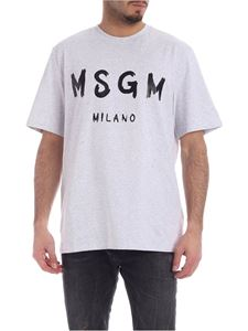 MSGM - Brushed logo t-shirt in grey and black