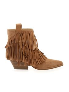 Sergio Rossi - Carla ankle boots in light brown with fringes