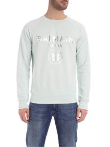 Balmain - Sweatshirt with laminated logo print in aquamarine