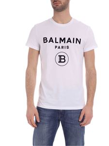 Balmain - T-shirt in white with black flock logo print