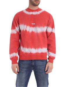 MSGM - Sweatshirt with watercolor effect in red and grey