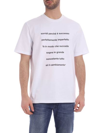 MSGM - T-shirt in white with Quote print