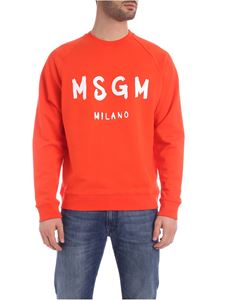MSGM - Brushed logo sweatshirt in coral color