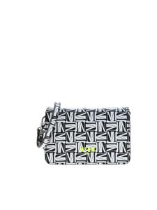 MSGM - All-over logo bag in black and white