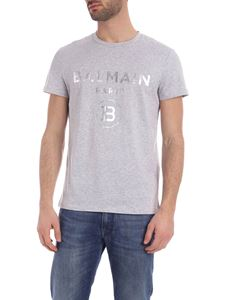 Balmain - Silver laminated logo T-shirt in grey