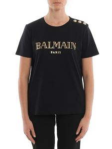 Balmain - Cotton T-shirt with gold buttons and logo