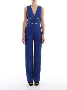 Balmain - Gold-tone button striped jumpsuit
