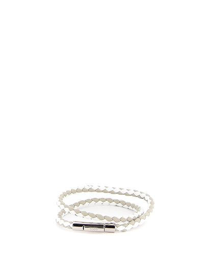 Tod's - White and taupe leather double wrap bracelet