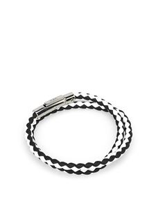 Tod's - Black and white leather double wrap bracelet