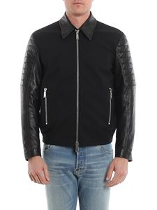 Dsquared2 - Leather sleeve stretch wool jacket