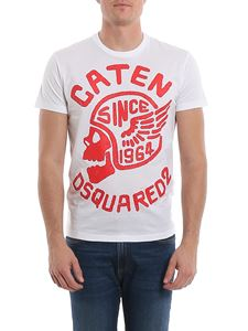 Dsquared2 - T-shirt bianca con stampa rossa
