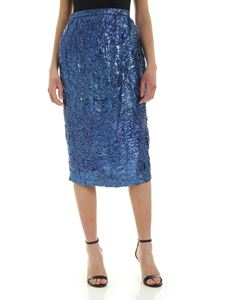Rochas - Crakle lamé skirt in blue