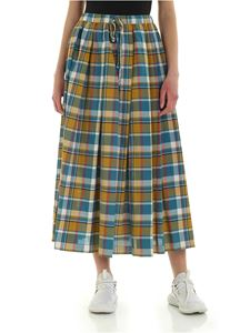 Aspesi - Checked skirt in blue and yellow
