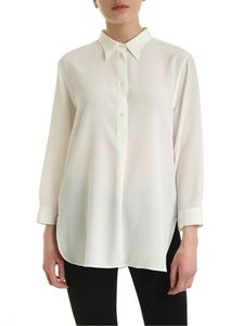 Aspesi - Mother of pearl buttons silk blouse in white