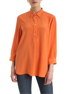 Aspesi - Mother of pearl buttons silk blouse in orange