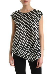 PLEATS PLEASE Issey Miyake - Step top in black and white