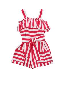 Monnalisa - Short jumpsuit with white and fuchsia stripes