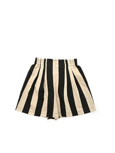 Monnalisa - Striped shorts in beige and black