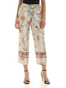 Semicouture - Floral print Jancis pants in ecru color