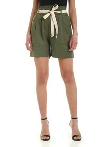 Semicouture - High-waisted linen shorts in Army green