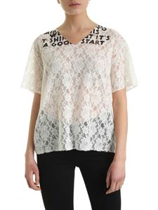 MM6 by Maison Martin Margiela - Rebrodè lace T-shirt in white