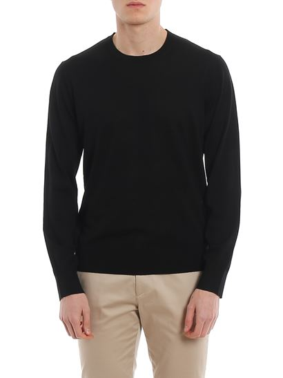 Z Zegna - Worsted wool black crew neck sweater
