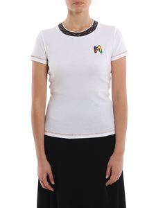 M Missoni - Ribbed T-shirt with multicolour logo patch