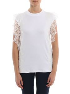 Fabiana Filippi - Lace detailed ribbed cotton top