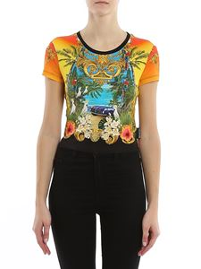 Versace Jeans Couture - Tropical printed jersey cropped t-shirt