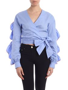 Gaelle Paris - Contrasting piping blouse in light blue