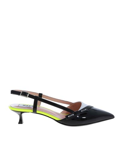MSGM - Slingbacks in black and white with neon yellow details