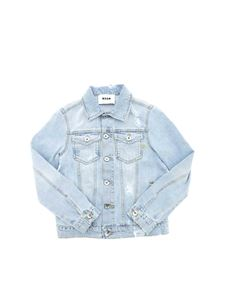MSGM - Jeans jacket in light blue with tears