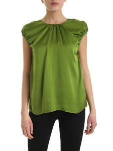 Rochas - Cupro green top with curled detail