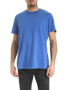 Moncler - T-shirt in blue with embroidered logo