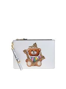 Moschino - Frame Teddy Bear clutch bag in white