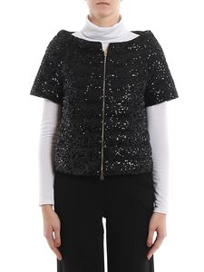 Herno - Sequined short down jacket in black