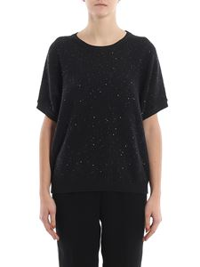 Peserico - Sequined detail black boxy sweater
