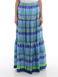 Giada Benincasa - Multicolour printed silk flounced skirt