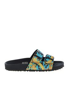 Versace Jeans Couture - Leo Chain slippers in black and light blue