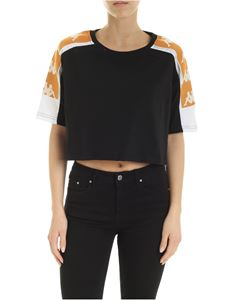 Kappa - Contrasting logo bands crop T-shirt in black