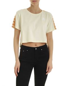 Kappa - Crop branded T-shirt in cream color