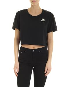 Kappa - Crop t-shirt in black with logo