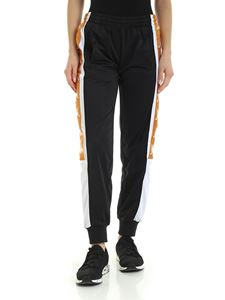 Kappa - Black pants with maxi contrasting logo bands