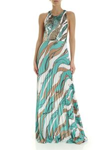 Elisabetta Franchi - Dress in aquamarine color white and beige with sequins