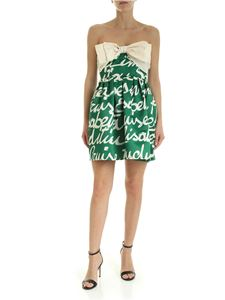 Elisabetta Franchi - Maxi bow dress in green and cream color