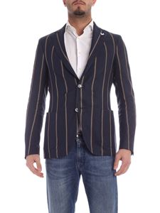 Lardini - Striped jacket in brown and blue