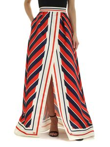 Elisabetta Franchi - Skirt in blue red and cream with deep vent