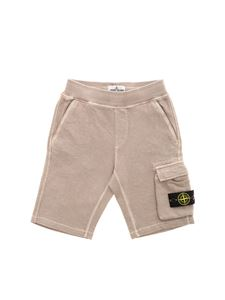 Stone Island Junior - Bermuda beige con patch logo