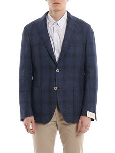 Eleventy - Soft checked blazer with patch pockets